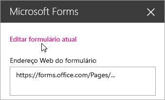 Editar o formulário atual no painel de web part do Microsoft Forms para obter o formulário existente.