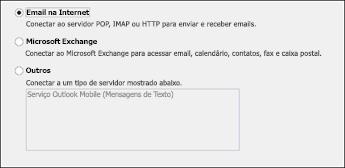 Escolher email da Internet