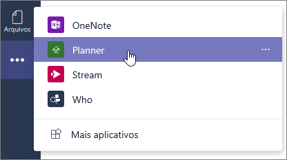 O menu de aplicativos no Teams, selecionando o aplicativo Planner.