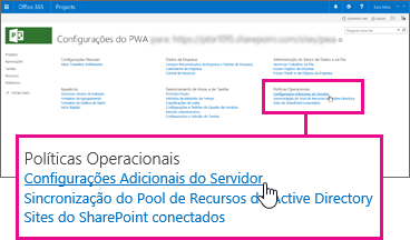 Configurações Adicionais do Servidor descritas em Políticas Operacionais