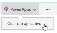 Clicando no PowerApps e, em seguida, criam um aplicativo.