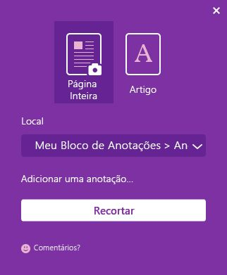 A janela do OneNote Web Clipper