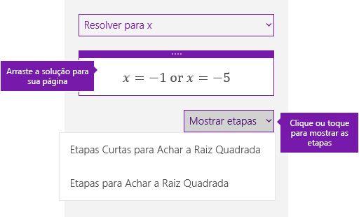 Botão Mostrar etapas no painel de tarefas de matemática