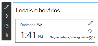 A Web Part de relógio internacional para sites do SharePoint, com um formato de local e data/hora definido