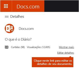 Opção para Editar Detalhes no Docs.com