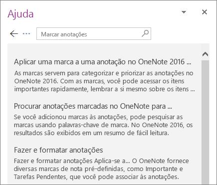 Captura de tela do painel de Ajuda do OneNote, exibindo os resultados da pesquisa de Rótulos de Anotações.