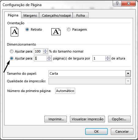 """Defina a opção """"Ajustar para"""" na caixa de diálogo Configurar Página."""