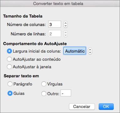 Opções para converter texto em tabela