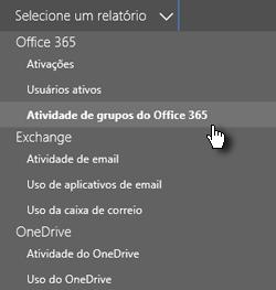 Selecionar um relatório - Grupos do Office 365