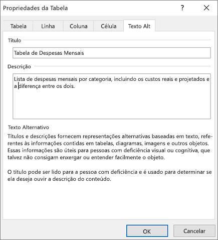 Captura de tela da guia Texto Alt da caixa de diálogo Propriedades de Tabela descrevendo a tabela selecionada