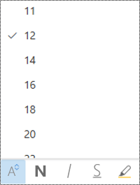 Menu tamanho da fonte aberto no Outlook na Web.