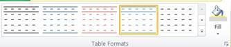 Interface de formatação de tabela no Publisher 2010
