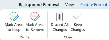 Os botões de remover plano de fundo na guia Formatar das Ferramentas de Imagem da faixa de opções no Office 2016