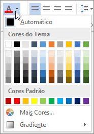 Paleta de cores de fonte