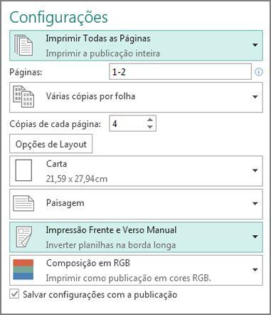 Configuração para imprimir dos dois lados do papel no Publisher.