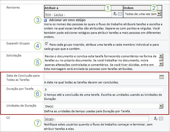 Formulário de inicialização com textos explicativos numerados