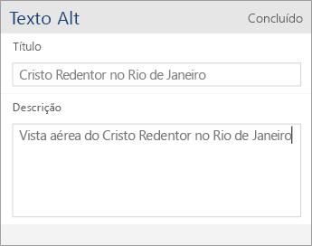 Captura de tela da caixa de diálogo Texto Alt do Word Mobile contendo os campos Título e Descrição.