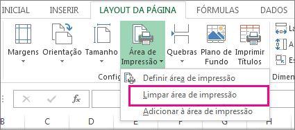 Limpar área de impressão
