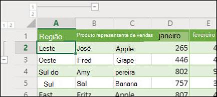 Aplicar níveis de Contorno de linha e coluna Excel para a Web a partir do Grupo de Dados/Desagrupar.