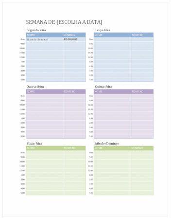 Calendário Semanal de Compromissos (Word)