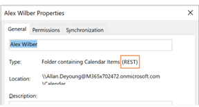 Você pode usar as propriedades Calendar para confirmar se está usando as interfaces REST ou MAPI.