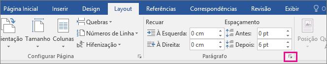 A seta para abrir a caixa de diálogo Parágrafo é realçada na guia Layout.