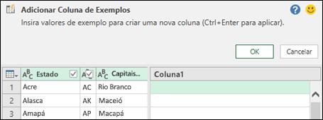Power Query combinar coluna do painel de exemplo