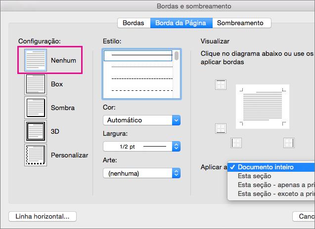 Guia Bordas de Página com a configuração Nenhuma realçada.