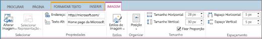 A captura de tela mostra uma seção da faixa de opções do SharePoint Online com a guia Imagem selecionada, e as opções disponíveis nos grupos Selecionar, Propriedades, Estilos, Organizar, Tamanho e Espaçamento.