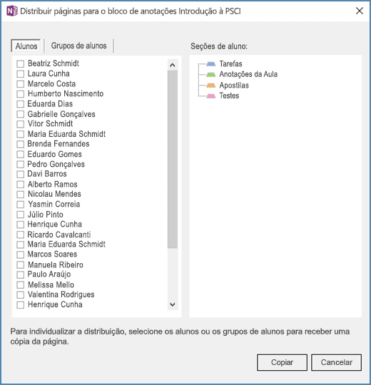 Painel distribuir páginas com uma lista de nomes de alunos individuais com caixas de seleção e uma lista de seções do bloco de anotações do aluno de destino..