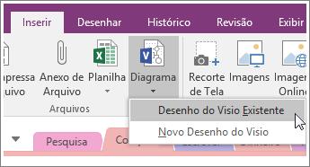 Captura de tela do botão Inserir Diagrama no OneNote 2016.