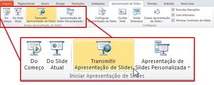 transmitir apresentação de slides, no grupo iniciar apresentação de slides, na guia apresentação de slides, do powerpoint 2010.