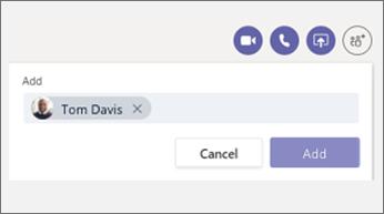 Adicionar a pessoa à caixa de diálogo do chat