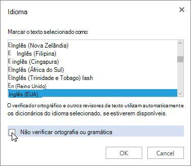 Caixa de diálogo Idioma