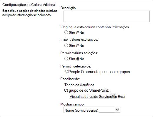Opções de coluna pessoa ou grupo