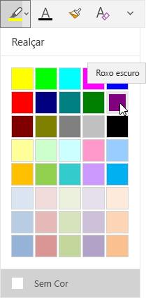 Botão de realce com menu suspenso mostrando roxo escuro selecionado