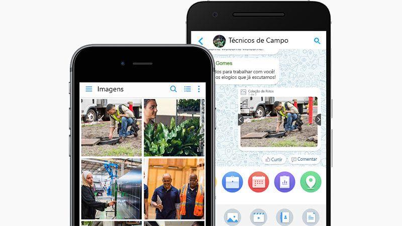 O aplicativo Kaizala em um smartphone