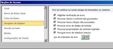 configurações de verificação de erros disponíveis na categoria designers de objetos