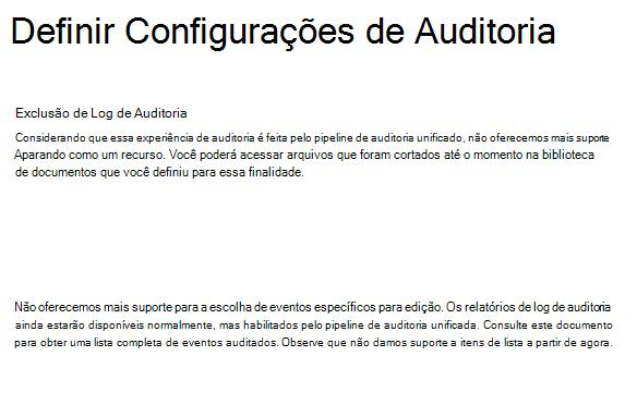 Configurações de auditoria SPO