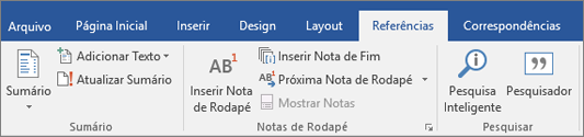 Faixa de opções do Pesquisador do Word do Office 365