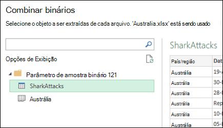 Combinar diálogo binários exibindo planilhas do Excel disponíveis para selecionar o destino de consolidação principal