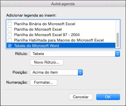 Adicione legendas automaticamente às novas tabelas e outros objetos que você inserir