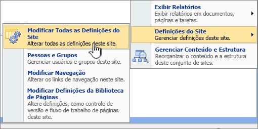 Opção modificar todas as configurações do site em configurações do site