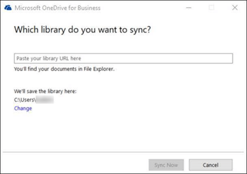 OneDrive for Business – selecionando a biblioteca a ser sincronizada