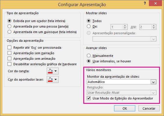 Opções de Monitor na caixa de diálogo Configurar Apresentação