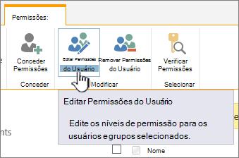 Clique em Editar permissões para alterar o nível de permissão