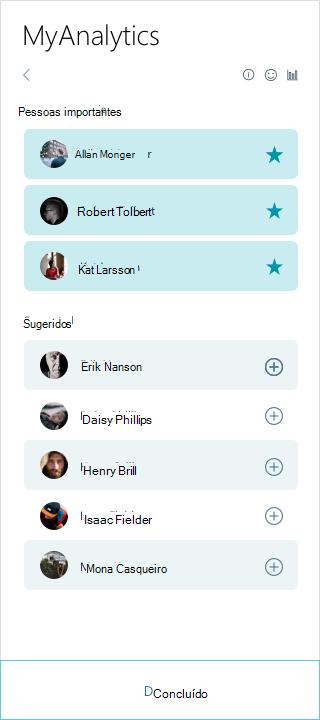 Captura de tela da lista de pessoas MyAnalytics importantes