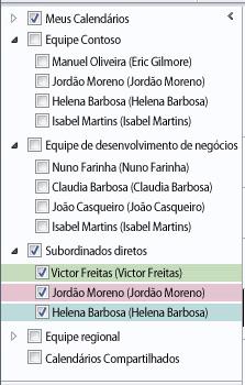 Grupo de Calendários no Painel de Navegação