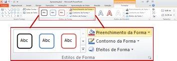 a guia formatar na faixa de opções do powerpoint 2010.