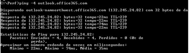 Solicitação de ping para outlook.office365.com mostrando o DNS e o endereço IP de namnorthwest.